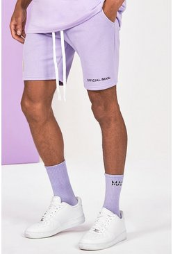 Lilac lila Mid Length Official Man Print Jersey Short