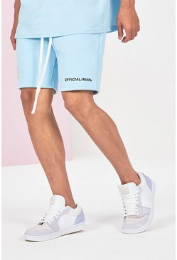 Blue Mid Length Official Man Print Jersey Short