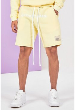 Yellow Mid Length Official Man Print Jersey Short