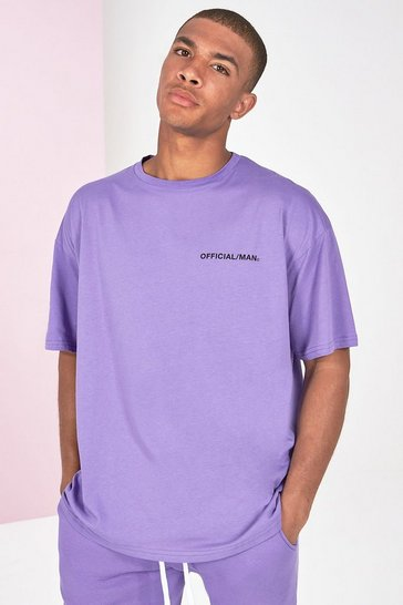 Lilac purple Oversized Official Man Front And Back Print T-Shirt