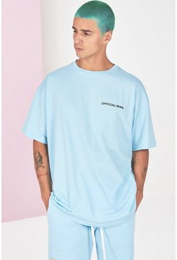 Blue Oversized Official Man Front And Back Print T-Shirt