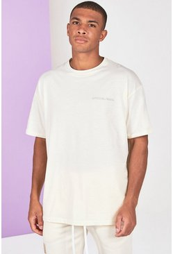 Stone beige Oversized Official Man Front And Back Print T-Shirt