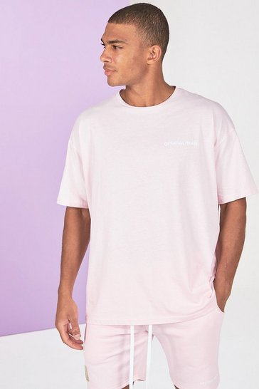 Pink Oversized Official Man Front And Back Print T-Shirt