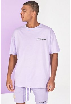 Lilac grey Oversized Official Man Front Print T-Shirt
