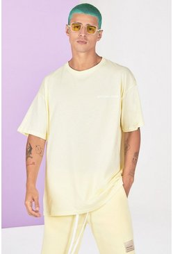 Yellow Oversized Official Man Front Back Print T-Shirt