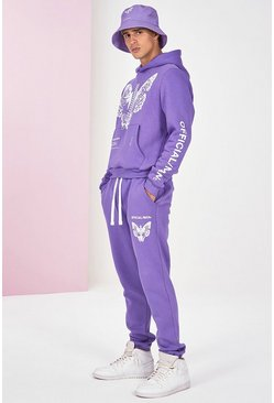 Lilac Pigment Dye Butterfly Hooded Tracksuit