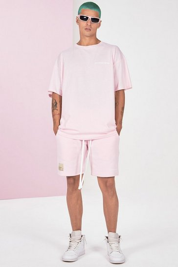 Pink Pigment Dye Tee And Short Set