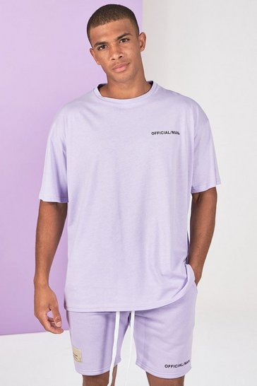Lilac grey grey Pigment Dye Tee And Short Set