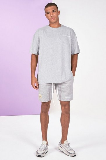 Grey marl grey Pigment Dye Tee And Short Set