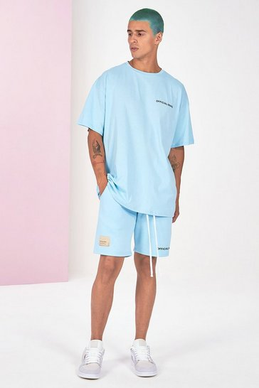 Blue Pigment Dye Tee And Short Set
