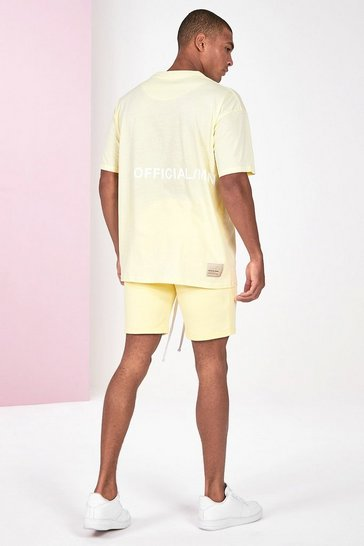 Yellow Pigment Dye Tee And Short Set