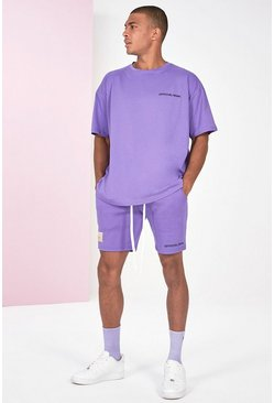 Lilac purple Pigment Dye Tee And Short Set