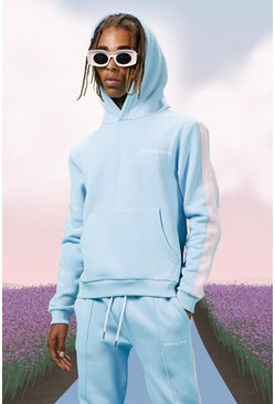 Blue Boxy Official Man Hoodie With Side Tape