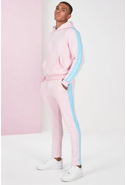 Pink Boxy Official Man Hoodie With Side Tape