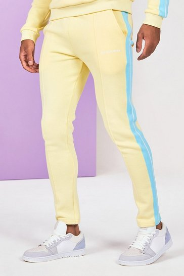 Yellow Skinny Fit Man Pintuck Jogger With Side Tape