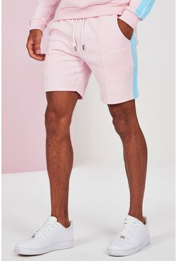 Pink Mid Length Man Pintuck Jersey Short With Side Tape