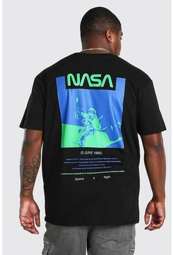 Black Plus Size NASA Back Print License T-Shirt