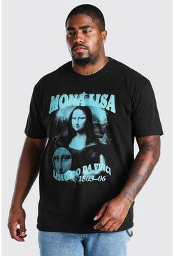 Black Big And Tall Mona Lisa Homage Print T-Shirt