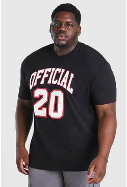 Black Big and Tall Official 20 Print T-Shirt