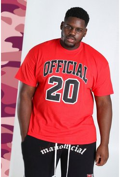 Red Plus Size Official 20 Print T-Shirt