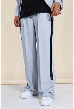 Grey Wide Leg Tape Suit Trousers