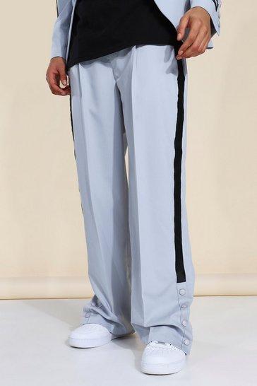 Grey Wide Leg Tape Suit Trousers