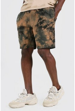 Brown MAN Official Tie Dye Mid Length Jersey Short
