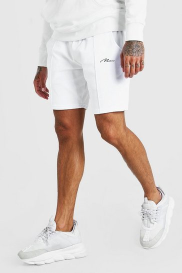 White MAN Signature Towelling Pintuck Mid Length Shorts