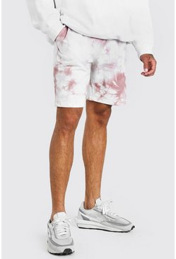 Mauve Original MAN Mid Length Tie Dye Short
