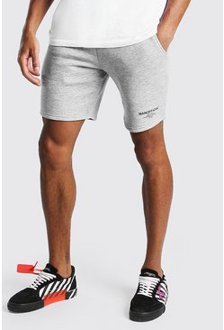 Grey marl Official MAN Elastic Waistband Mid Length Short