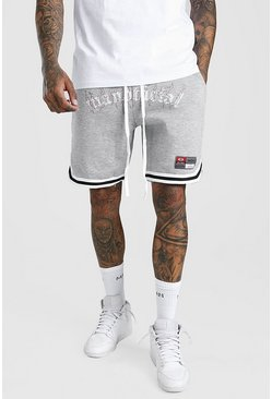 Grey marl grey MAN Official Flame Mid Length Jersey Short