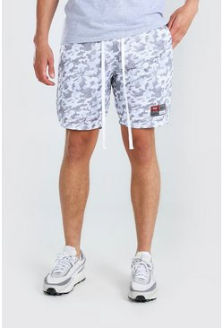 Light grey Camo Print Airtex Mid Length Short