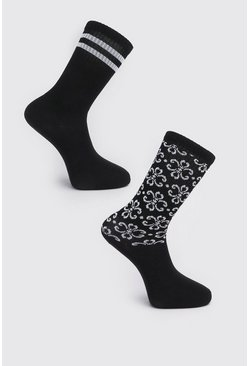 Black 2 Pack Printed Sock