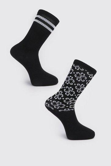 Black 2 Pack Printed Sock