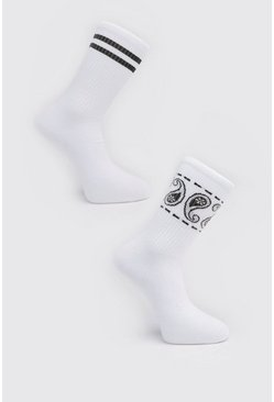 White 2 Pack Printed Socks