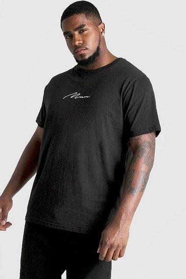 Black Plus Size MAN Script T-shirt