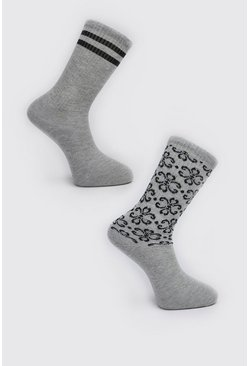 Grey 2 Pack Patterned Sock