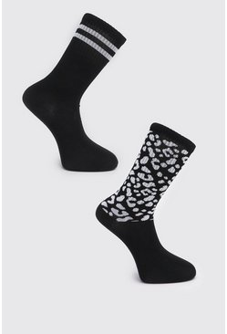 Black 2 Pack Leopard Print Sock