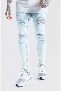 Ice blue Skinny Stretch All Over Rip Jean