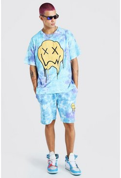 Blue Loose Fit Tie-dye Drip Face T-Shirt And Short Set