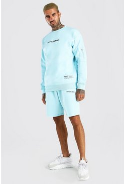 Dusty blue blue Official Relaxed Utility Short Tracksuit