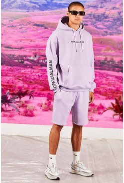 Lilac purple Oversized Official Sleeve Print Short Tracksuit