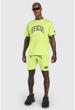Green Loose Fit Official Print T-Shirt & Short Set