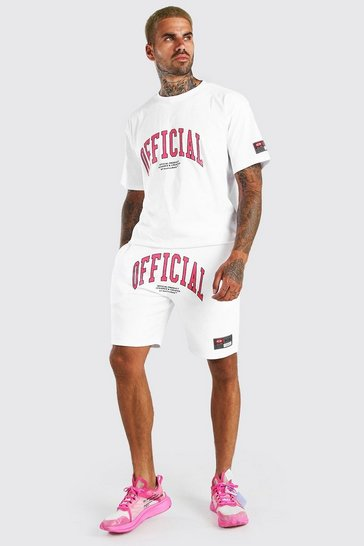 White Loose Fit Official Print T-Shirt & Short Set