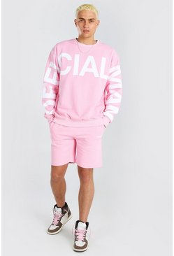 Pale pink pink Official MAN Print Sweater Short Tracksuit