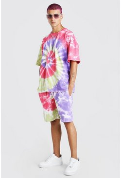 Pink Tie-Dye T-Shirt & Short Set With MAN Print