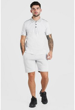 Grey Original MAN Tape Polo & Short Set