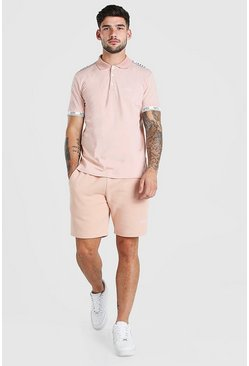 Dusky pink pink Original MAN Tape Polo & Short Set