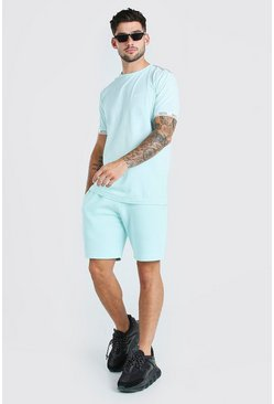 Light blue Original MAN Print T-Shirt & Short Set