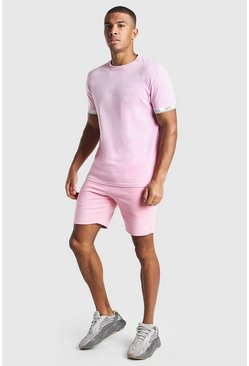 Ensemble short et t-shirt imprimé MAN Original, Rose clair rose